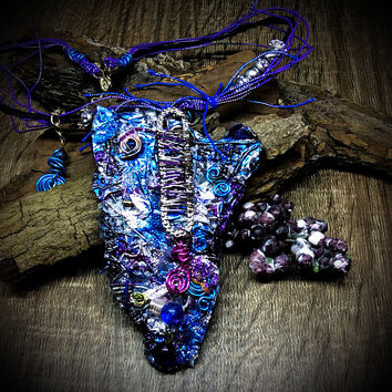Sparkling One Of A Kind Handcrafted Necklace, Unique Gift For Her, Black Blue Necklace, Multi Color Trendy Wearable Art, Multi Strand Gift
