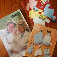 Three Knitting Patterns / Babies Hats And Mittens / Babies Cardigans / Aran Pullover Pattern