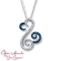 Open Hearts Necklace 1/6 ct tw Diamonds 10K White Gold
