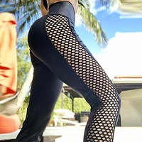 New fashion print yoga fitness mesh breathable pants women Black