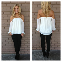 Ivory Off Shoulder 3/4 Sleeve Blouse