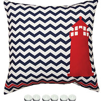 "Manual Woodworkers SLNALH Nautical Red Lighthouse Indoor Outdoor Pillow 18""x18"" with 6-Pack of Tea Candles"