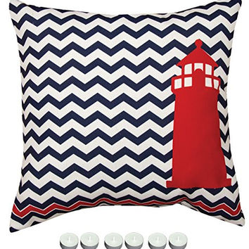 """Manual Woodworkers SLNALH Nautical Red Lighthouse Indoor Outdoor Pillow 18""""x18"""" with 6-Pack of Tea Candles"""