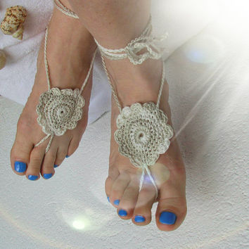Ladies  Barefoot Sandals /Grey crochet barefoot sandals/ Bridal Foot jewelry/Beach wedding barefoot sandals-Lace shoes-Beach wedding sandals