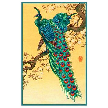 Japanese Artist Ohara Shoson's Peacocks on a Branch Counted Cross Stitch Pattern