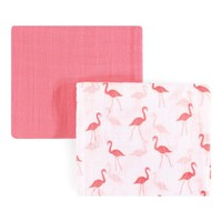 46'' x 46'' Pink Flamingo Muslin Swaddle Blanket - Set of Two
