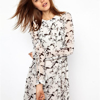 Stylish Vintage Slim Print One Piece Dress [4919942532]