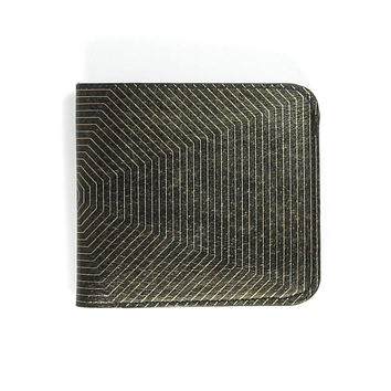 Leather Wallet - Black & Gold Shield