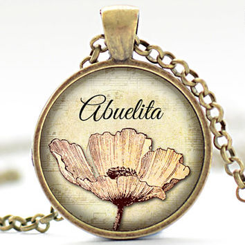 Abuelita Necklace, Mother's Day Jewelry, Pink Flower Pendant, Gift for Her (1749)