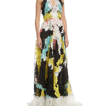 Naeem Khan Embroidered Lace Open-Back Gown