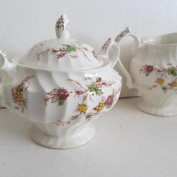 Double Handle Sugar Bowl and Creamer Heritage Pattern Myott Son Hanley Genuine Hand Engraving Myott England English China Sugar Creamer set