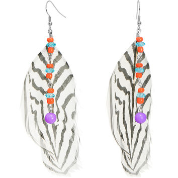 Wild at Heart Zebra Print Feather Earrings