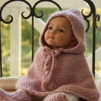 BABY PONCHO WITH HOOD HAND KNITTED MERINO ALPACA WOOL