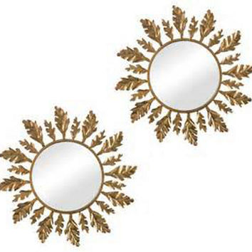 Leaf Accent Mirrors, Gold Leaf, Set of 2, Wall Mirrors