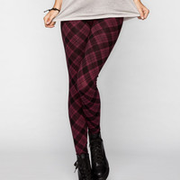 Full Tilt Plaid Womens Leggings Blackberry  In Sizes