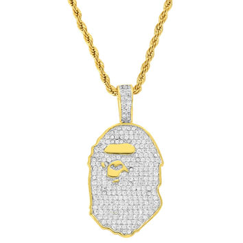 "Fashion 18k Gold Finish Men's Mini Ape Pendant Solid Back with Free 24"" Rope Chain"