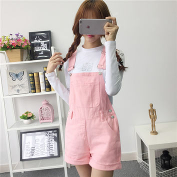 2017 spring Women summer lovely jumpsuitsdenim overalls shorts