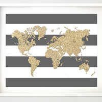 "Instant download 10x8"" Printable world map, golden glitter map print, gold and stripes, gold printable poster, nursery wall art  pdf-map022"