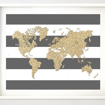 Best gold world map poster products on wanelo instant download 10x8 printable world map golden glitter map print gold and stripes gumiabroncs Choice Image