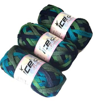 Lot 3 Ice Yarns Ballerina Turquoise Navy Khaki Green Ruffle Scarf Bulky Yarn 20685