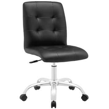 Modway Prim Mid Back Office Chair in Black Tufted Leatherette on Chrome Base