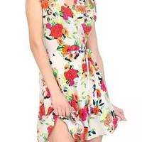 Floral Print Sleeveless V-Neck Wrap Front Tie Waist Mini Dress