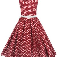 Lindy Bop Classy Vintage Audrey Hepburn Style 1950's Rockabilly Swing Evening Dress (M, Red)