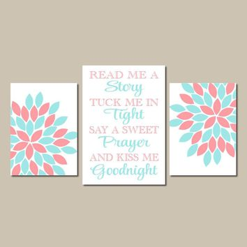 Aqua Coral Wall Art, CANVAS or Prints, Girl Decor, Read Me a Story, Kiss Me Goodnight, Nursery Rhyme Quote, Flower Burst, Set of 3 Pictures
