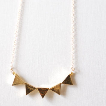 Gold Triangle Necklace, Geometric Jewelry, triangle banner necklace, Triangle Necklace