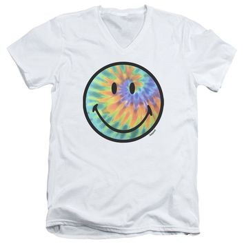 Smiley World - Tie Dye Face Short Sleeve Adult V Neck