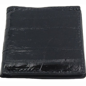 Eel Skin Hipster Wallet in Black - Real Eel Leather - Free Shipping to USA