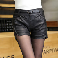 2016 New Fashion Summer Women's Sexy Black 100% PU High Waist Shorts Vintage Slim Slit High quality Leather Shorts 1307