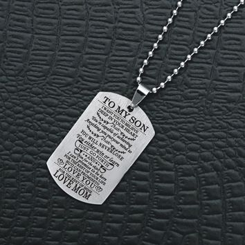 Suteyi To My Son Daughter NecklacesI Want You To Believe Love Dad Mom Pendant Family Necklace Stainless Steel Jewelry