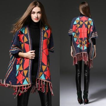 New 2017 Autumn Fashion Shawl Sweaters Cape Women Plaid Top Quality Front Tassel Trim Warm Wrap Cardigan sweater