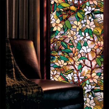 high quality modern Static Cling Cover Stained Flower Window Film Glass Privacy Home Decor 45*100cm