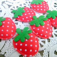 Kawaii Cute Scrapbooking Embellishment Red Strawberry Applique 6 Pieces