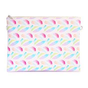 Multi Colored Feather Print Clutch Bag