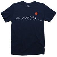 Risen Sun Over Mountains embroidered navy tee by Altru Apparel (M,L,XL & 2XL Only)