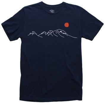 Risen Sun Over Mountains embroidered navy tee by Altru Apparel (L,XL & 2XL Only)