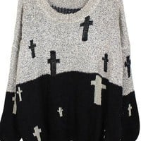 CROSS A COMBO BLACK AND GREY SWEATER