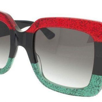 ESBONG6 Gucci GG0083S 001 Red-Black With Grey Gradient Lenses 55MM Sunglasses 100%UV