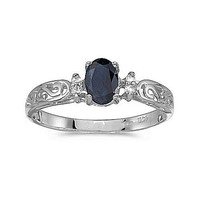 14K White Gold 6/4mm Oval Sapphire and Diamond Ring