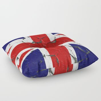 Grunge flag of United Kingdom Floor Pillow by ARTPICS
