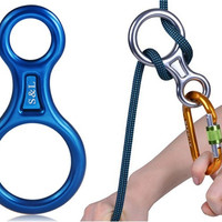 Outdoor Splayed Figure 8 Rappel Ring for Hiking & Climbing (Blue)