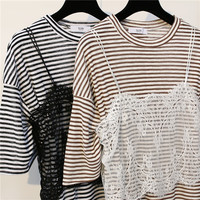 2017 New Straps Short Sleeve T-Shirts Top for Women