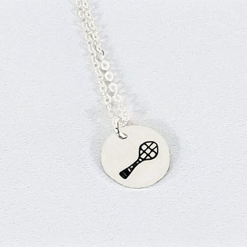 Hand Stamped Sterling Silver Mini Tennis Player Necklace, Tennis Racquet Necklace, Simple Sterling Tennis Necklace, Tennis Team Necklace