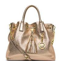 MICHAEL Michael Kors Camden Large Metallic Leather Satchel Bag in Gold - Avenue K