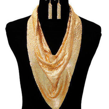 Gold Metal SCARF DRAPE LAYERED Statement Necklace & Earrings Set