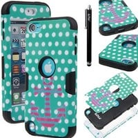 iPod Touch 5 Case, iPod Touch 5 defender Case, E LV iPod Touch 5 Case Cover - Dual Layer Hybrid Armor Defender Protective Case Cover for Apple iPod Touch 5 with 1 Stylus and 1 Screen Protector - POLKA DOT WHITE / PINK