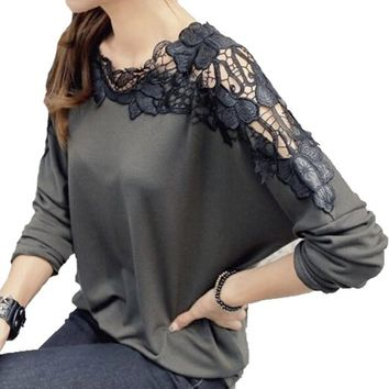Sexy Womens Ladies Batwing Lace Long Sleeve Loose T-shirt Blouse Tops (grey)